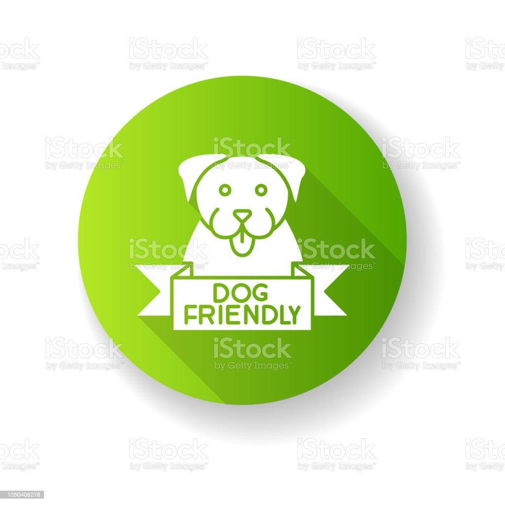 Dog Friendly Area Green Flat Design Long Shadow Glyph Icon ...