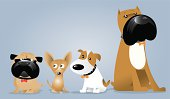 Jack Russell Terrier, Boxer, Pug and Chihuahua Dog Gang Illustration Cartoon