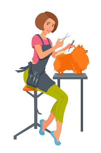 Dog groomer. Girl trims dog's hair. Pet stylist at work.