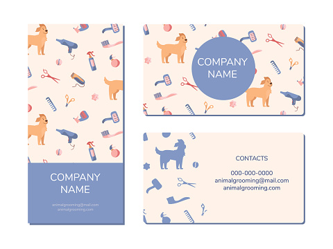 Dog grooming company business card and brochure design. Golden Retriever and grooming products, shampoos, wire cutters, combs, scissors. Vector ilustrations in cartoon style