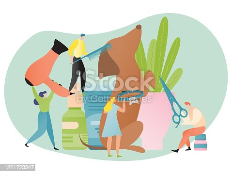 Dog grooming concept, pet care salon with tiny people, animal beauty center poster, vector illustration