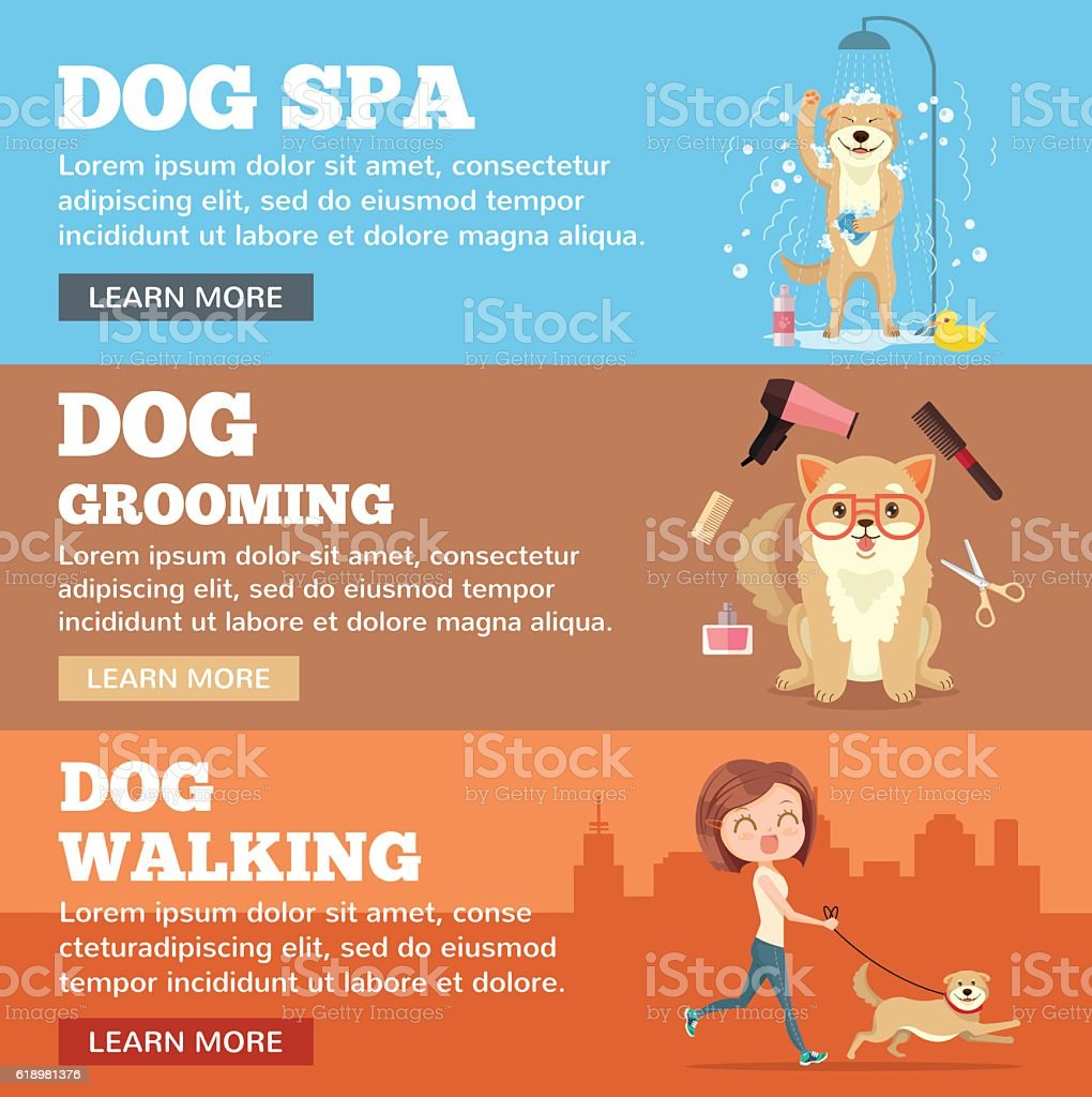 Dog grooming. Dog service vector art illustration
