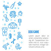 Dog grooming Line art banner with sign of dog, bone, clipper, comb. Stylish animal equipment for your promo design.