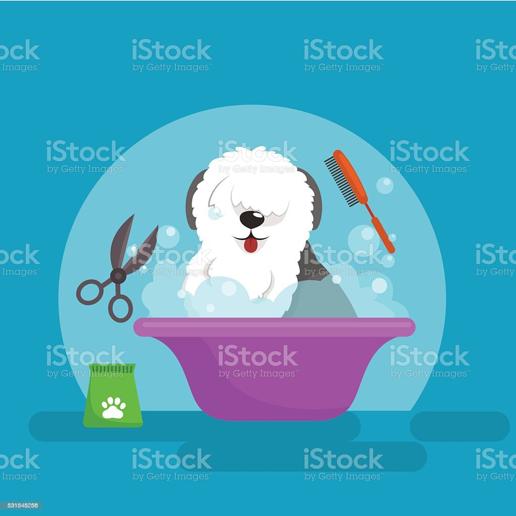Dog hair hygiene. Vector Illustration Set, Pet Grooming and care vector art illustration