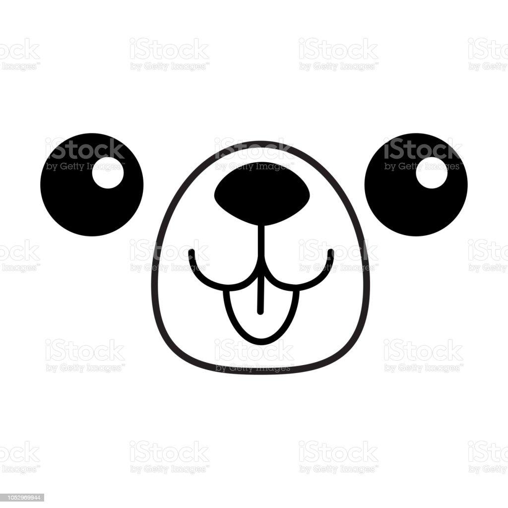 Icône Tête De Chien Heureux Face Carrée Silhouette De La Ligne De Contour Personnage De Dessin Animé Mignon De Chiot Kawaii Animal Chien Drôle De Bébé