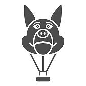 istock Dog head balloon solid icon, Balloons festival concept, Air transport for kids sign on white background, hot air balloon in shape of dog icon in glyph style for mobile. Vector graphics. 1279908963