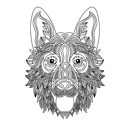 Dog head coloring book illustration. Anti-tress coloring