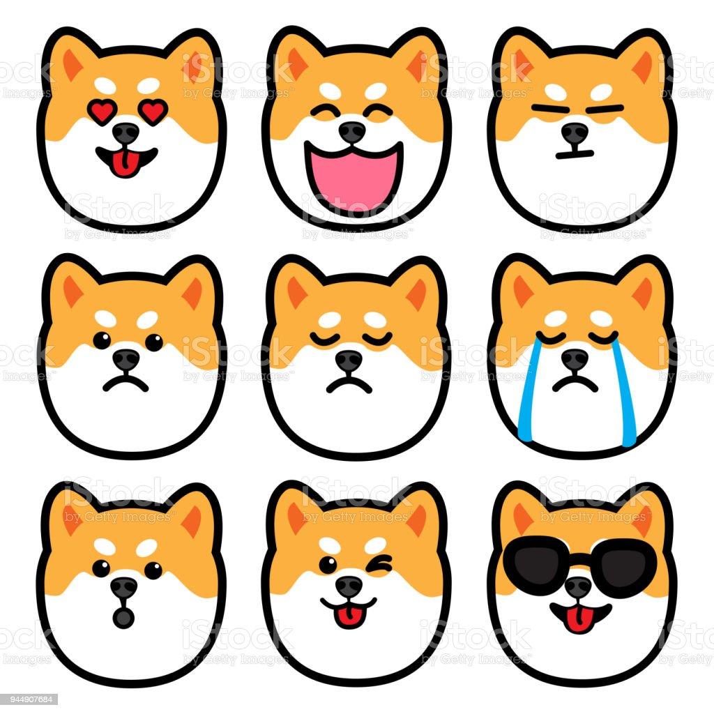 dog head, cute shiba inu emotions icon set, vector illustration