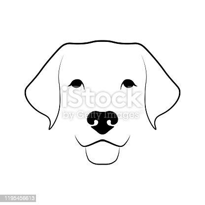 Labrador Retriever dog head. Black linear sketch on white background. Vector illustration