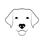 Labrador Retriever dog head. Black linear sketch on white background. Vector illustration