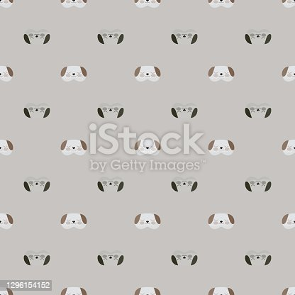 istock Dog head gray and brown color geometric seamless pattern on gray background. Children graphic design element for different purposes. 1296154152