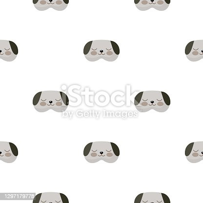 istock Dog head gray color geometric seamless pattern on white background. Children graphic design element for different purposes. 1297179778