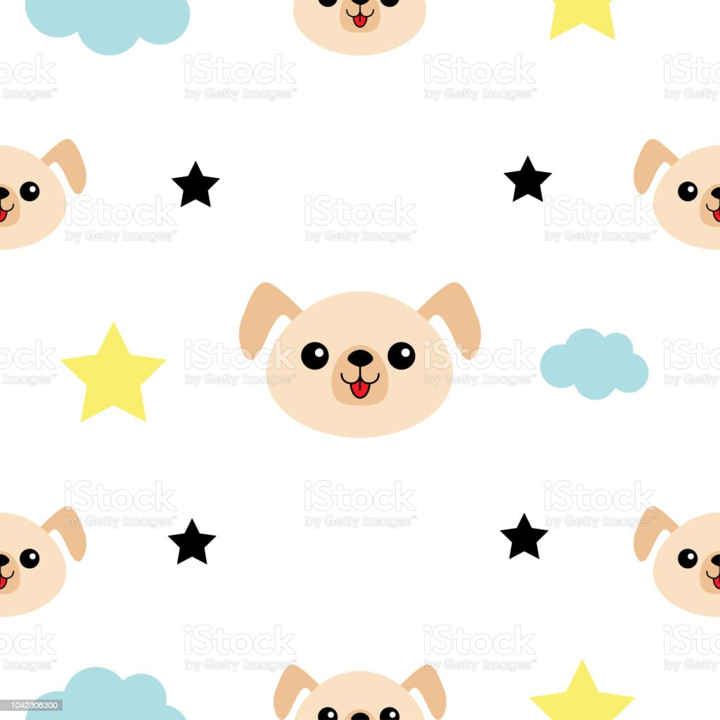 Dog Head Hands Cloud Star Shape Cute Cartoon Kawaii Character Baby