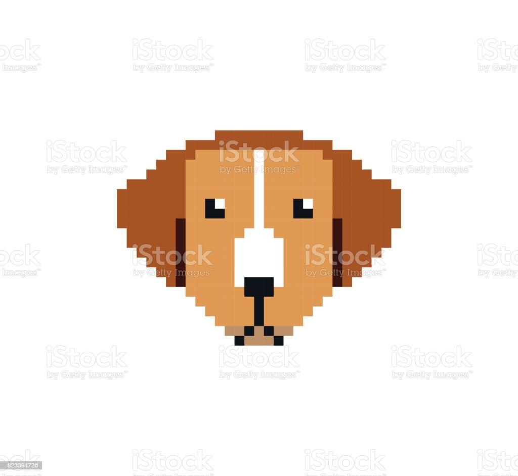 Tête De Chien En Pixel Art Style Fait De Petits Carrés De