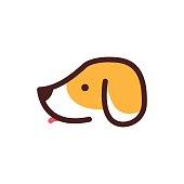 dog head pet care cartoon vector icon