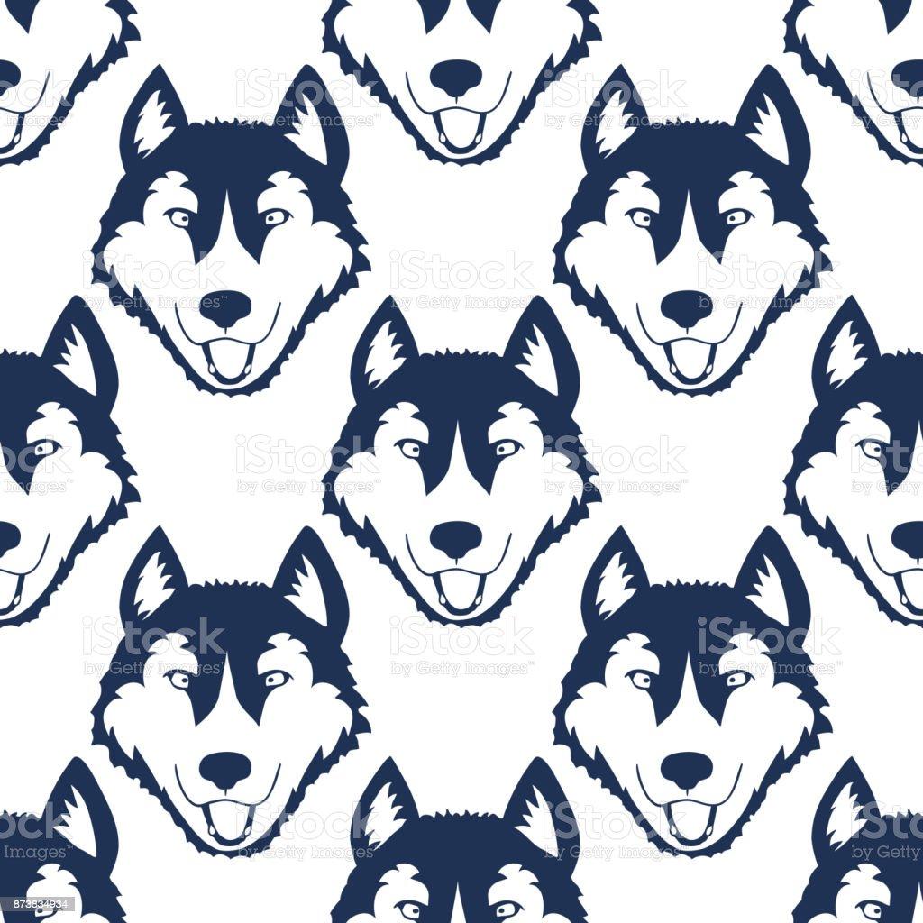 Köpek Kafası Seamless Modeli Husky Veya Malamute Kafa Arka Plan