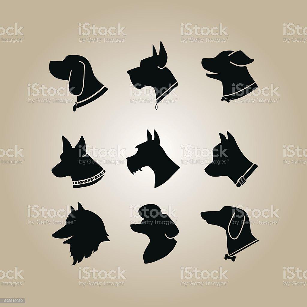 Dog Head Silhouette vector art illustration