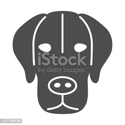 Dog head solid icon, pets concept, puppy face sign on white background, dog head silhouette icon in glyph style for mobile concept and web design. Vector graphics