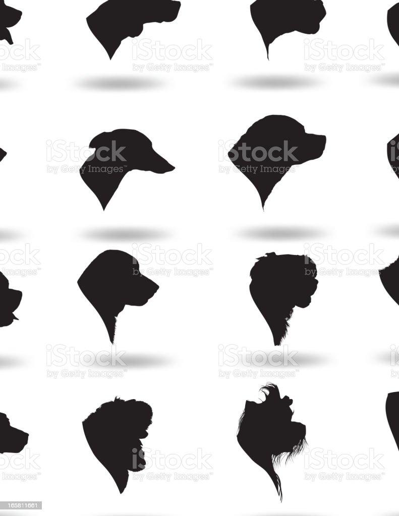 Dog Heads Silhouette vector art illustration