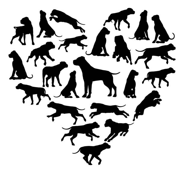 hundeherz-silhouette-konzept - arbeitshunde stock-grafiken, -clipart, -cartoons und -symbole