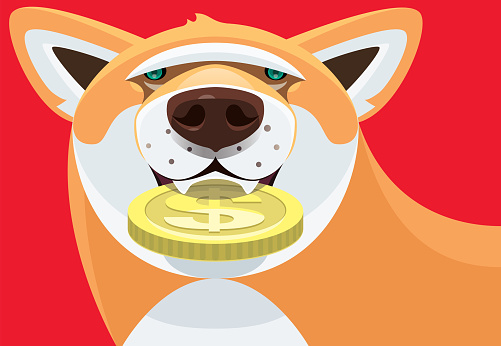dog holding coin
