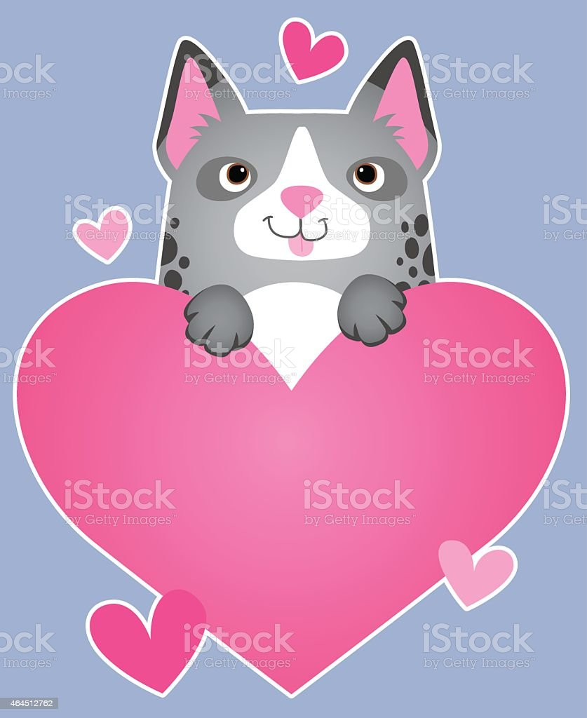 Dog holding heart vector art illustration