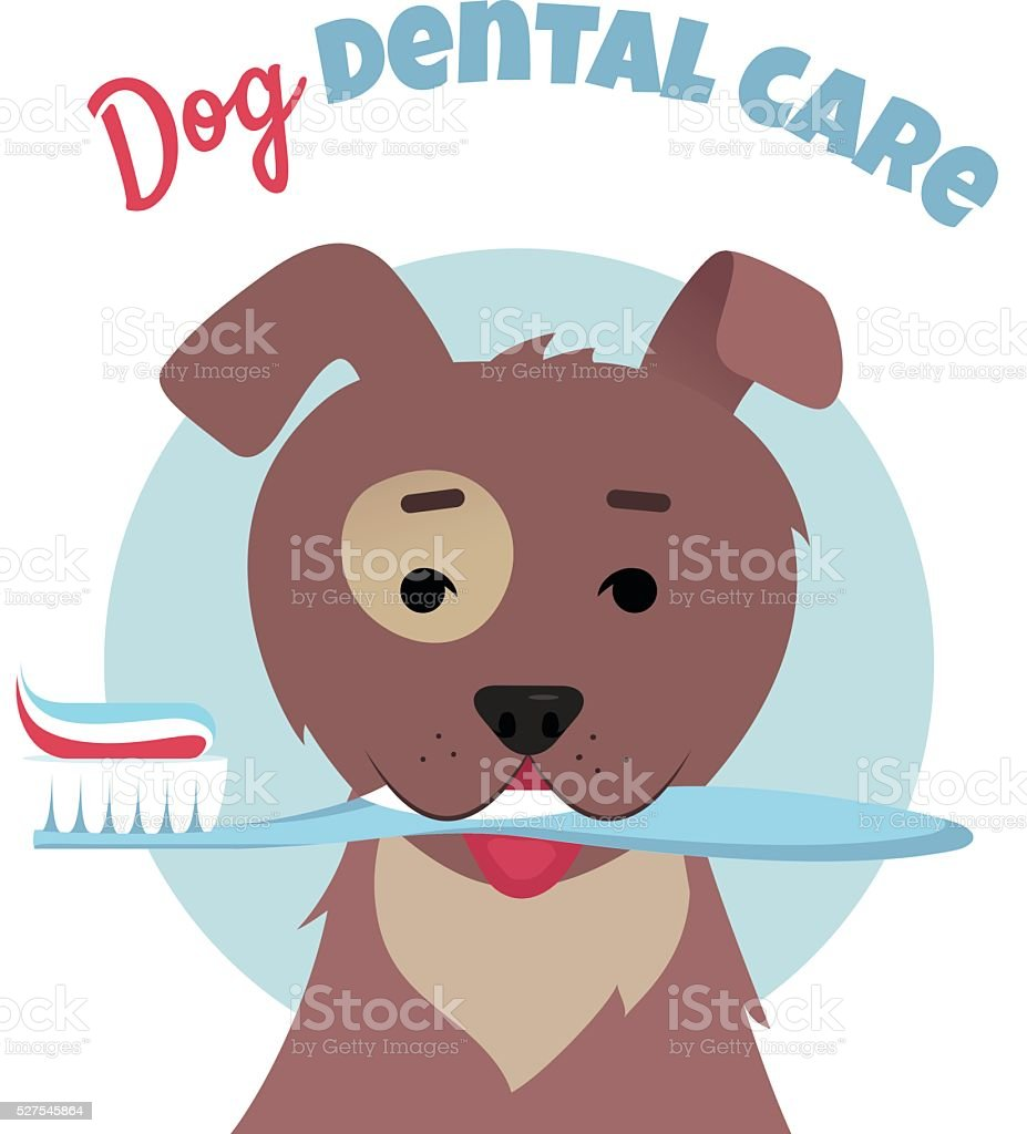 Dog holding  toothbrush with mouth. vector art illustration