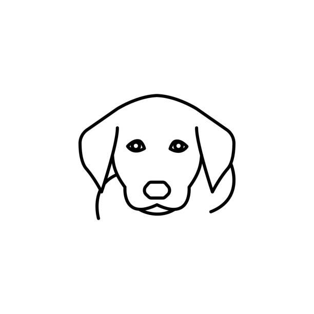 개, 흰색 배경에 하운드 라인 아이콘 - 강아지 실루엣 stock illustrations