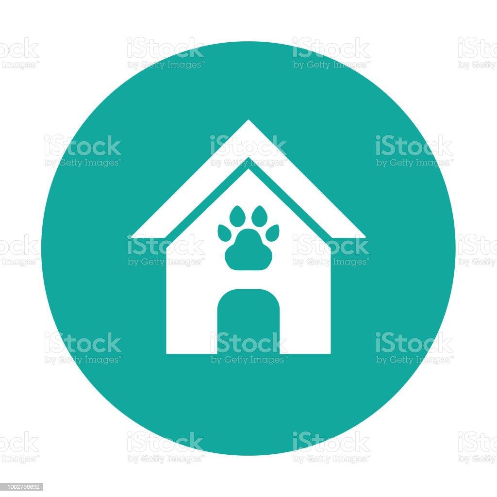 Dog house, pet house cartoon vector icon blue background vector art illustration