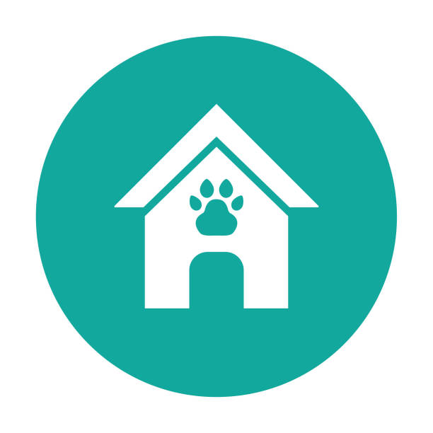 dog house, pet house cartoon vector icon blue background - square foot garden stock illustrations, clip art, cartoons, & icons
