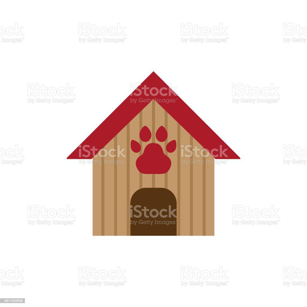 Dog house, pet house cartoon vector icon color vector art illustration