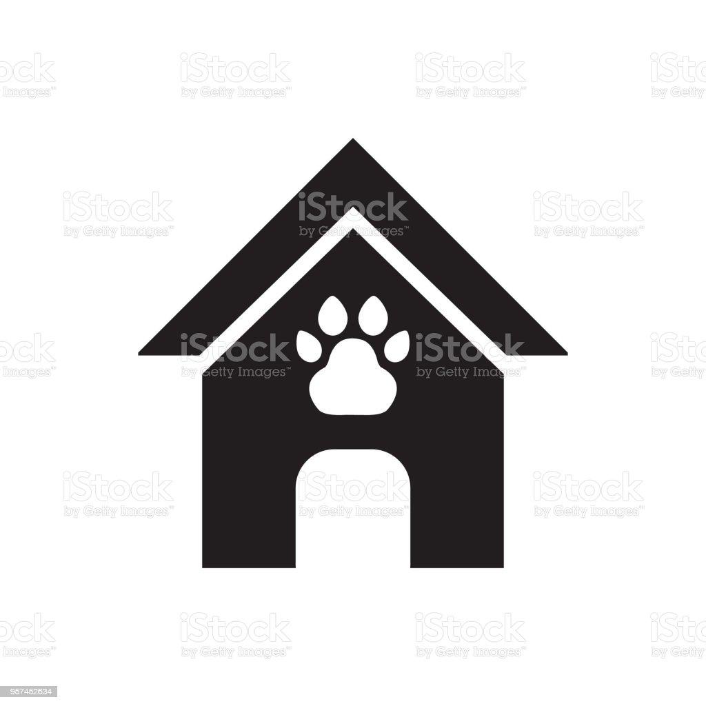 Dog house, pet house cartoon vector icon vector art illustration