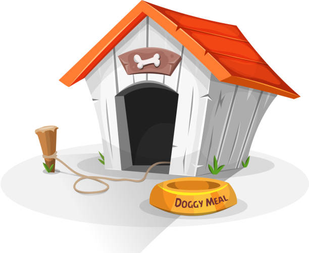 Dog House Illustration of a cartoon funny doghouse with dish for dog meal, and stake with leash attached arguing stock illustrations