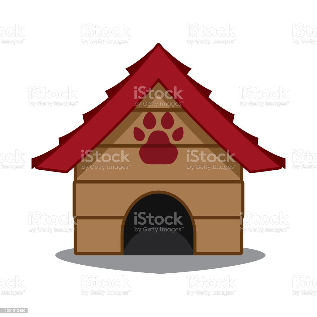 Dog house with paw, pet house vector icon illustration color vector art illustration