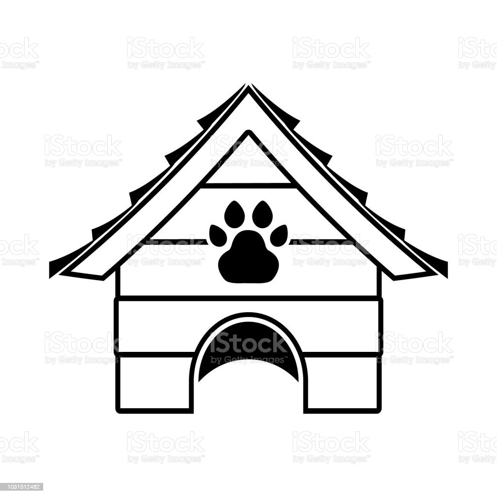 Dog house with paw, pet house vector icon illustration vector art illustration