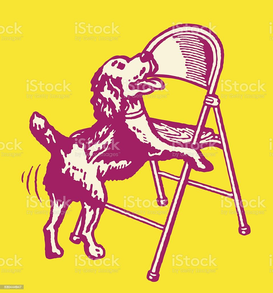 Dog Humping a Folding Chair vector art illustration