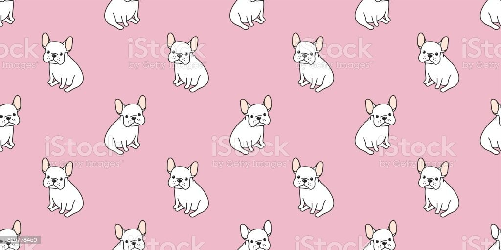 Dog Icon French Bulldog Vector Seamless Pattern Pink Wallpaper