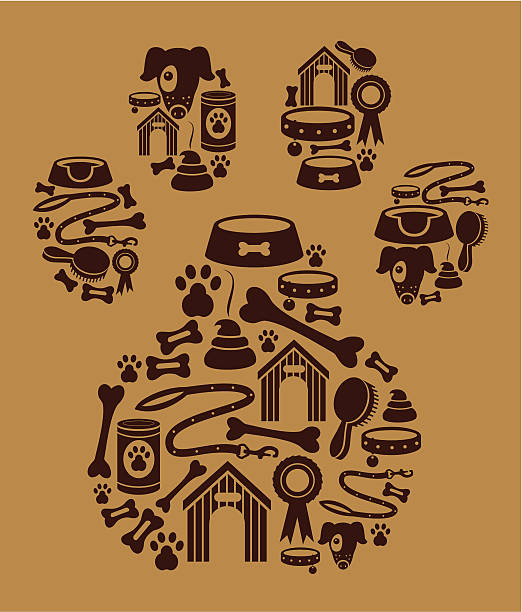 dog icon montage - dog treats stock illustrations
