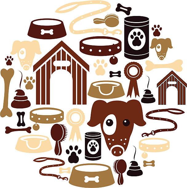 dog icon set - dog treats stock illustrations