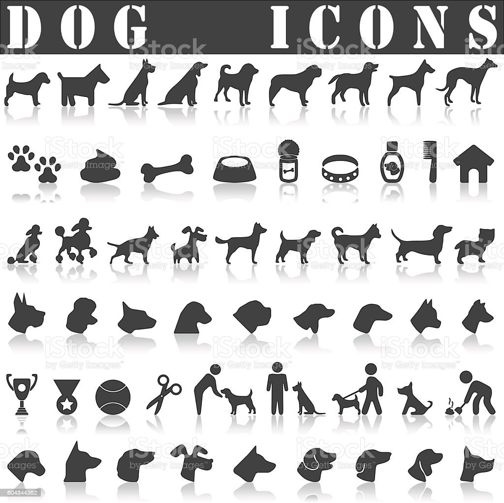 Dog icon set vector art illustration