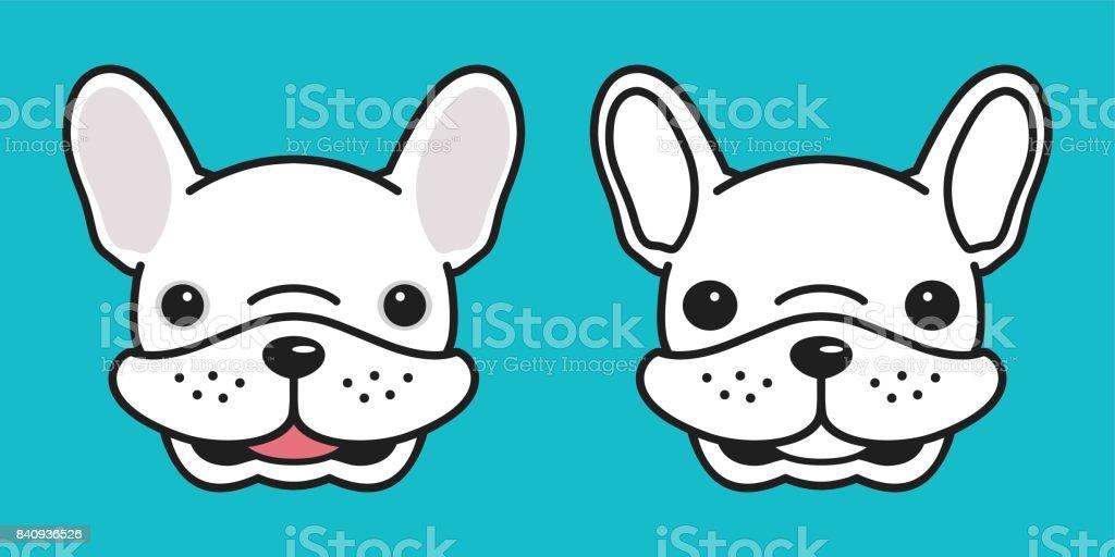 Dog Icon Vector French Bulldog Doodle Dog Head Smile