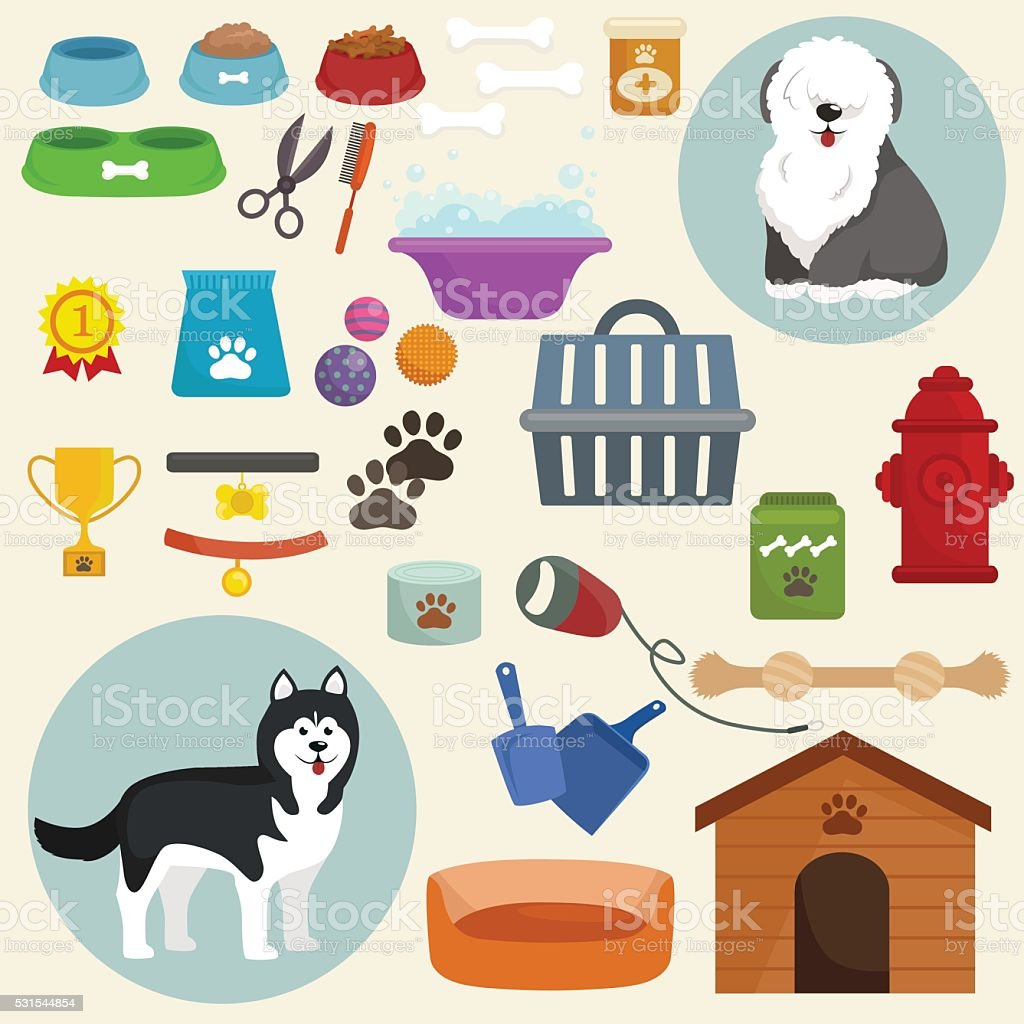 Dog icons flat set with dung kennel leash food bowl vector art illustration