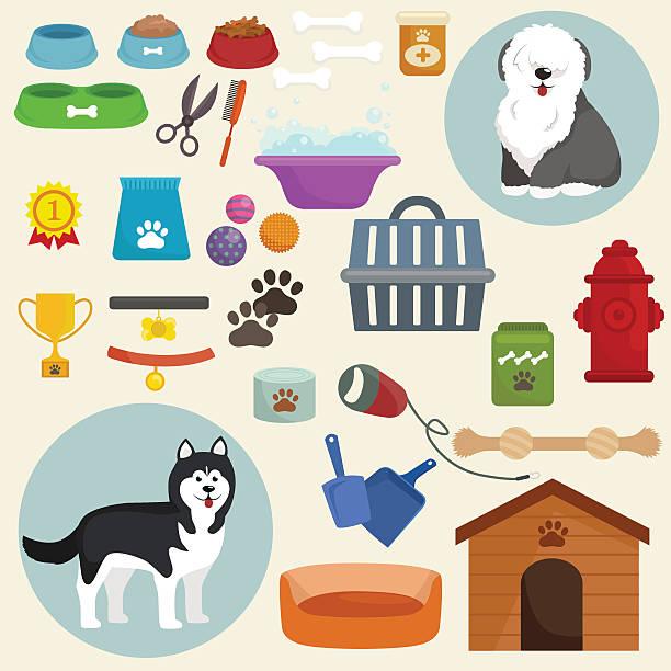 ilustrações de stock, clip art, desenhos animados e ícones de cão ícones plana definida com o estrume canil trela tigela de comida - dog food