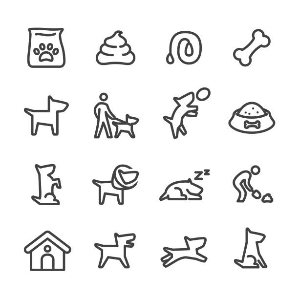stockillustraties, clipart, cartoons en iconen met hond icons - line serie - honden