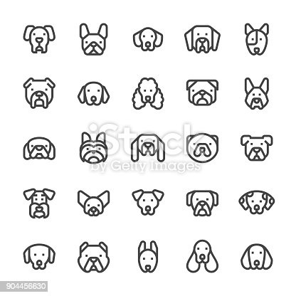 Dog Icons - MediumX Line Vector EPS File.