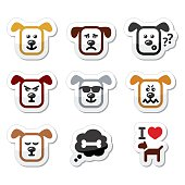 Dog icons set - happy, sad, angry isolated on white