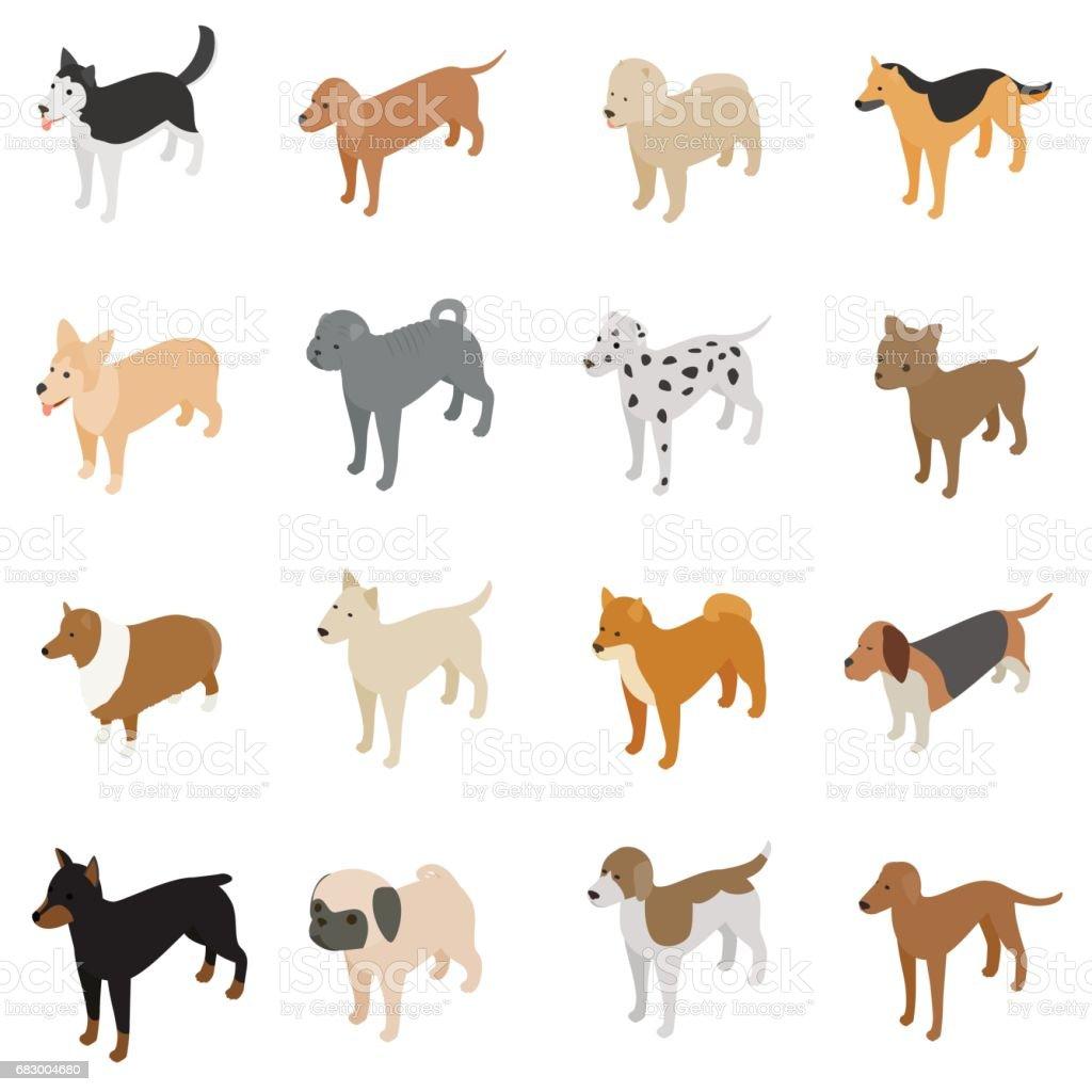 Dog icons set, isometric 3d style dog icons set isometric 3d style - arte vetorial de stock e mais imagens de animal royalty-free