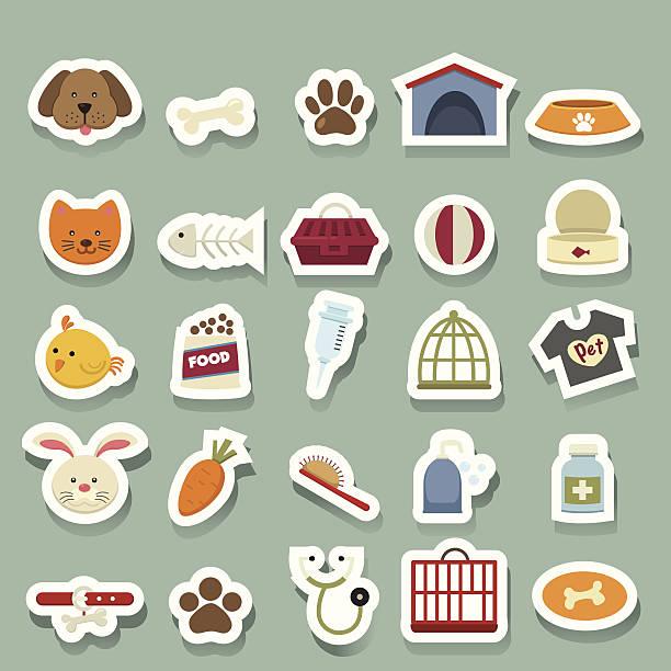 ilustrações de stock, clip art, desenhos animados e ícones de ícones de cão autocolante - lata comida gato
