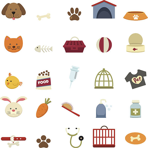 ilustrações de stock, clip art, desenhos animados e ícones de ícones de cão - lata comida gato