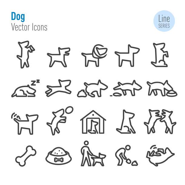 ilustrações de stock, clip art, desenhos animados e ícones de dog icons - vector line series - dog food